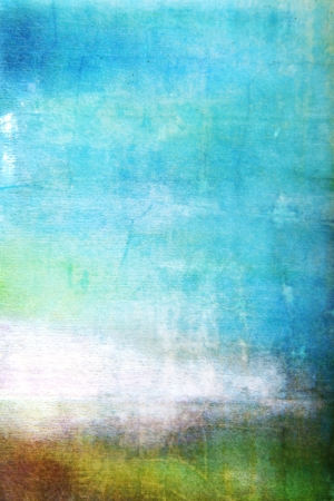 Abstract textured background: white, brown, and green patterns on blue sky-like backdrop. For art texture, grunge design, and vintage paper  border frame