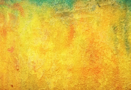 Old ragged wall: Abstract textured background with red, brown, and green patterns on yellow backdrop. For art texture, grunge design, and vintage paper / border frame Stock Photo - 16723408