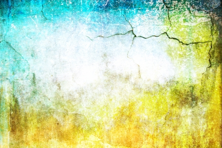Old ragged wall: Abstract textured background: blue, yellow, and green patterns on white backdrop. For art texture, grunge design, and vintage paper / border frame Stock Photo - 16810885