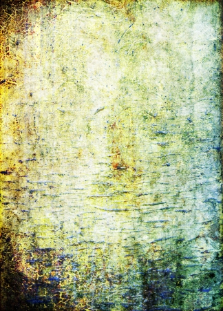 Old ragged wall: Abstract textured background: blue, brown, and green patterns on yellow backdrop. For art texture, grunge design, and vintage paper / border frame Stock Photo - 16810886