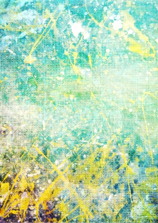 Old canvas: Abstract textured background with blue, yellow, and green patterns on white backdrop. For art texture, grunge design, and vintage paper / border frame Stock Photo - 16852718