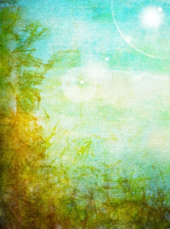 Old canvas: Abstract textured background with blue, yellow, and green patterns. For art texture, grunge design, and vintage paper / border frame Stock Photo - 16852719