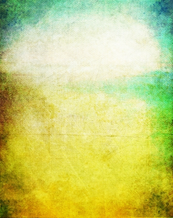 Old canvas: Abstract textured background with blue, yellow, and green patterns. For art texture, grunge design, and vintage paper  border frame Stock Photo