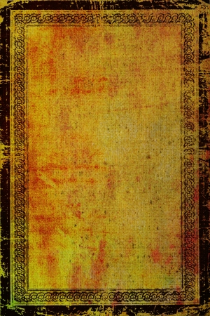 Old canvas with vintage border frame: Abstract textured background with red, orange, and brown patterns on yellow backdrop. For art texture, grunge design, and vintage paper photo