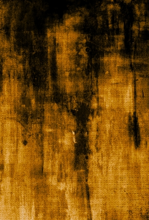 Old canvas: Abstract textured background with black and brown patterns on yellow backdrop. For art texture, grunge design, and vintage paper  border frame Stock Photo