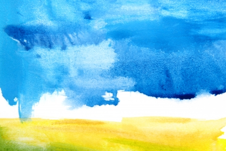 Abstract watercolor textured background: summer-themed landscape with yellow, blue, brown, and white patterns. For art texture, grunge design, and vintage paper  border frame photo