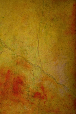 Old crumpled paper: Abstract textured background with red, brown, and orange patterns on yellow backdrop. For art texture, grunge design, and vintage paper  border frame photo