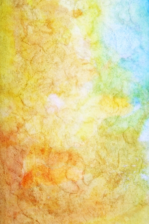 Abstract textured watercolor background with blue, white, and brown patterns on yellow backdrop. For art texture, grunge design, and vintage paper  border frame
