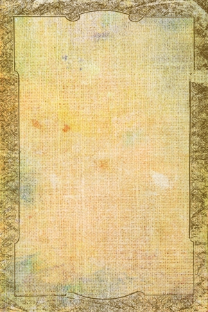 Vintage border frame with yellow / brown paint background or old texture. For art texture and grunge design Stock Photo - 17023747