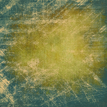 Abstract blue and yellow background or paper with bright spotlights and dark border frame with grunge background texture  For vintage layout design of light colorful graphic art Stock Photo - 18016102