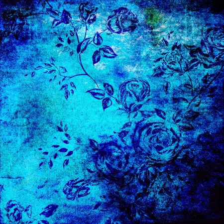 blue roses: Abstract colorful background or paper with flower-theme grunge texture