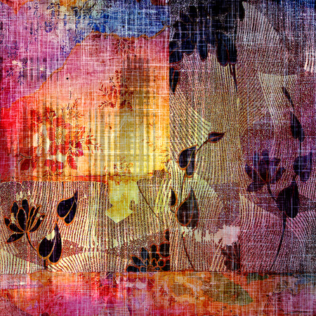 antique art: Antique vintage texture, old-fashioned weathered background. With different color patterns: purple (violet); blue; black; red (orange); yellow (beige)