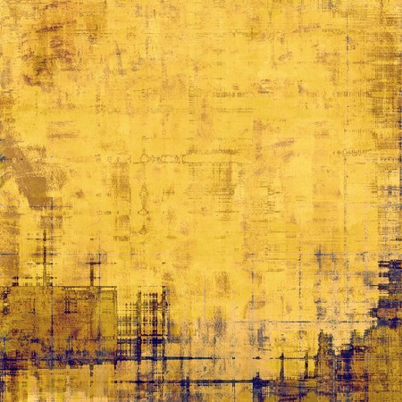 crosshatching: Grunge texture with decorative elements and different color patterns: blue; yellow (beige); brown