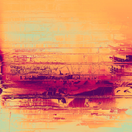 obsolete: Abstract grunge background with retro design elements and different color patterns: yellow (beige); purple (violet); pink; cyan
