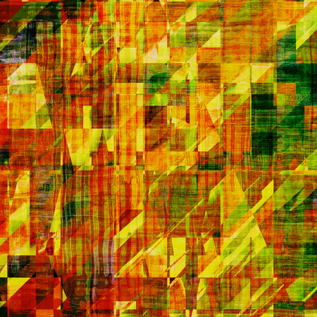 threadbare: Art vintage background with space for text and different color patterns: yellow (beige); brown; green; red (orange)