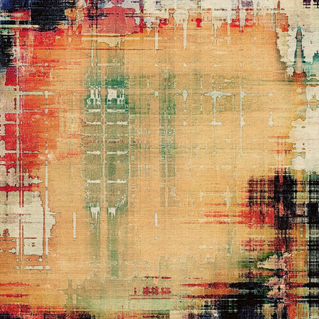 creased: Background with grunge stains. With different color patterns: yellow (beige); green; red (orange); black Stock Photo