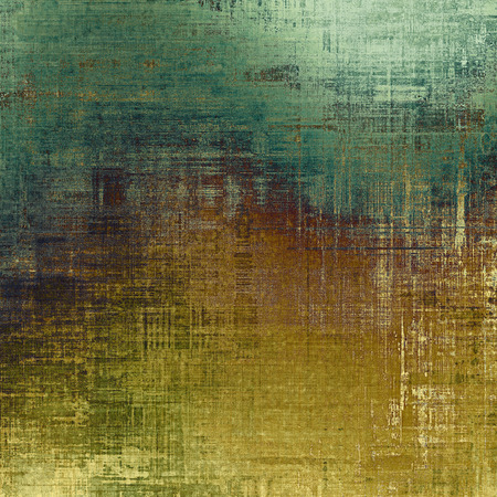 oldfield: Abstract composition on textured, vintage background with grunge stains. With different color patterns: yellow (beige); brown; cyan; green Stock Photo