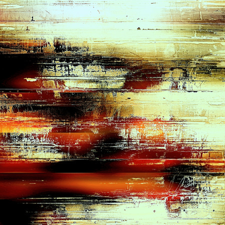 Abstract grunge background with retro design elements and different color patterns: yellow (beige); brown; black; red (orange); cyan