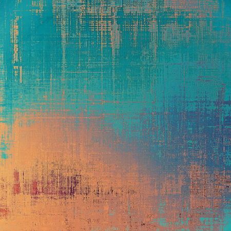 threadbare: Antique grunge background with space for text or image. With different color patterns: yellow (beige); brown; blue; cyan Stock Photo
