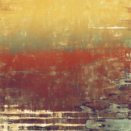 threadbare: Old designed texture as abstract grunge background. With different color patterns: yellow (beige); brown; green; red (orange); gray