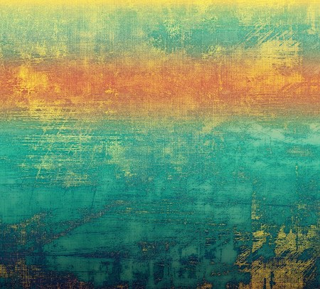 bad condition: Weathered and distressed grunge background with different color patterns: yellow (beige); blue; cyan; green; red (orange)