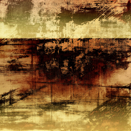 threadbare: Grunge retro vintage textured background. With different color patterns: yellow (beige); brown; black; gray Stock Photo
