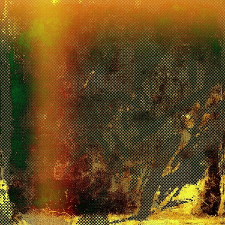 crosshatched: Abstract composition on textured, vintage background with grunge stains. With different color patterns: yellow (beige); brown; green; red (orange); gray