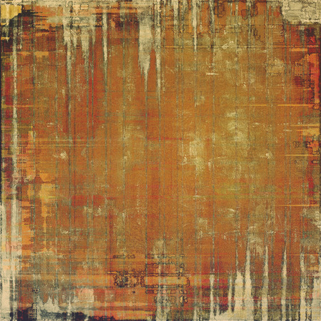 grime: Creative elegant design used as retro background for art project. With grunge texture and different color patterns: yellow (beige); brown; red (orange); gray