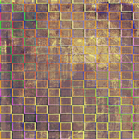 eroded: Geometric grunge old texture used as abstract vintage style background. With different color patterns: brown; green; blue; red (orange); purple (violet)