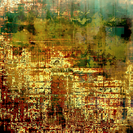 green brown: Damaged retro texture with grunge style elements and different color patterns: yellow (beige); brown; green; red (orange)