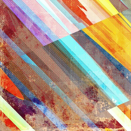 ancient geometric: Geometric vintage design background - Grungy style ancient texture with different color patterns: yellow (beige); brown; blue; red (orange); purple (violet) Stock Photo