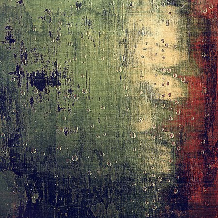 eroded: Vintage background, antique grunge backdrop or scratched texture with different color patterns: yellow (beige); brown; green; blue; red (orange) Stock Photo