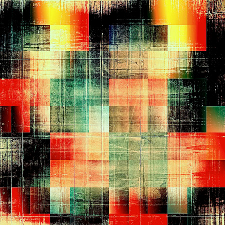 ancient geometric: Geometric old crumpled grunge background or ancient texture. With different color patterns: yellow (beige); brown; green; red (orange); black; cyan