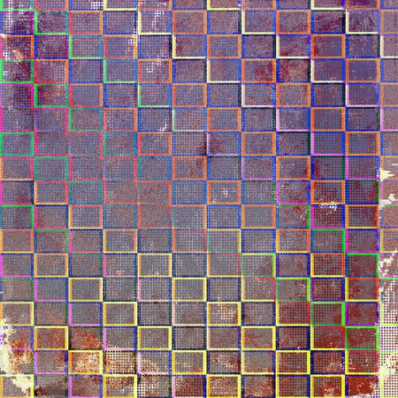 saturated color: Scratched vintage texture, grunge style frame or background. With different color patterns: brown; green; blue; red (orange); purple (violet)