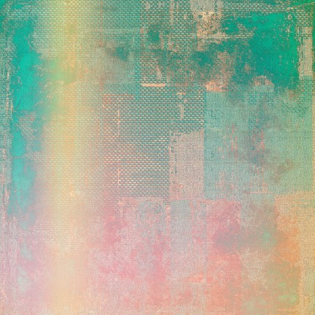 screen: Scratched background with retro style overlay. Aged texture with different color patterns: yellow (beige); green; blue; red (orange); pink Stock Photo