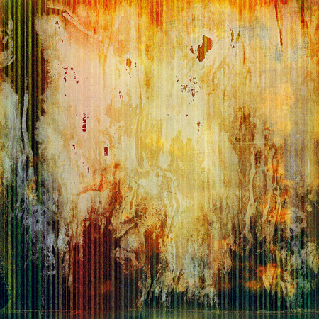 degraded: Vintage decorative background, antique grunge texture with different color patterns: yellow (beige); brown; green; red (orange); gray Stock Photo