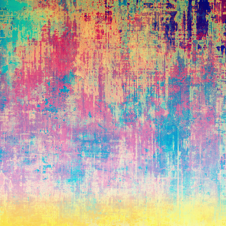 degraded: Vintage decorative background, antique grunge texture with different color patterns: yellow (beige); green; blue; red (orange); pink; cyan Stock Photo