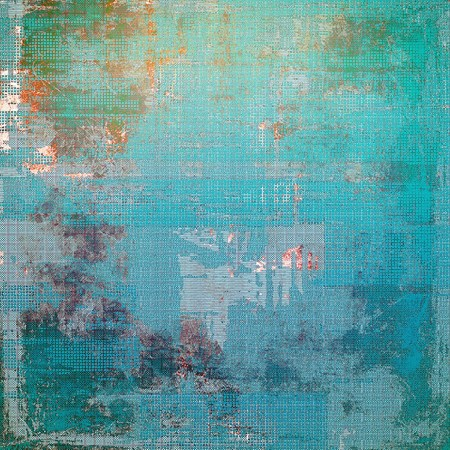 obscure: Old-style dirty background with textured vintage elements and different color patterns: green; blue; red (orange); gray; cyan Stock Photo