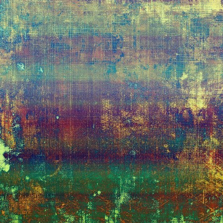 eroded: Colorful grunge texture or background with vintage style elements and different color patterns: yellow (beige); brown; green; blue; red (orange); purple (violet)