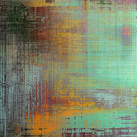 crosshatching: Ancient texture or damaged old style background with vintage grungy design elements and different color patterns: yellow (beige); blue; red (orange); black; cyan Stock Photo
