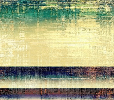 concrete background: Art grunge background or vintage style texture with retro graphic elements and different color patterns: yellow (beige); brown; gray; green; blue; cyan Stock Photo