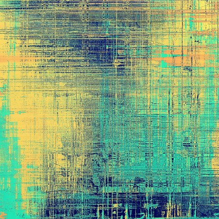 jagged: Abstract scratched background or frame with weathered grunge texture. Ancient style backdrop with different color patterns: yellow (beige); gray; blue; red (orange); cyan
