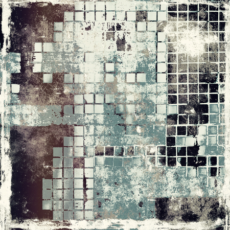 gloomy: Aged background or texture. Vintage graphic composition with grunge style elements and different color patterns: brown; gray; black; cyan; white