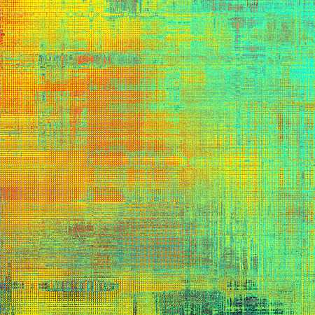 eroded: Vintage old-style texture, worn and rough grunge background with different color patterns: yellow (beige); green; red (orange); cyan Stock Photo