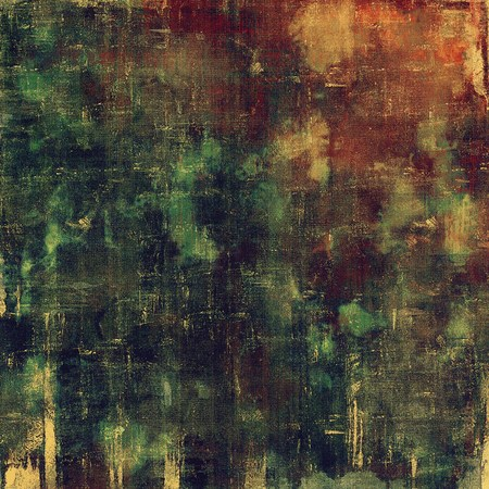 green brown: Vintage and retro design elements on faded grunge background. With different color patterns: yellow (beige); brown; green; gray; red (orange); purple (violet) Stock Photo