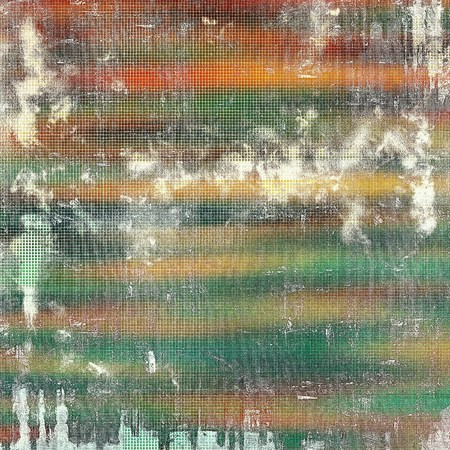 gloom: Old grunge background or aged shabby texture with different color patterns: yellow (beige); brown; green; red (orange); white; cyan Stock Photo