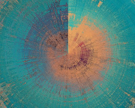 obscure: Spherical grunge background or texture with vintage frame design and different color patterns: yellow (beige); blue; pink; cyan