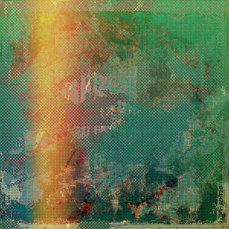 degraded: Vintage background in scrap-booking style, faded grunge texture with different color patterns: yellow (beige); brown; green; blue; red (orange); pink Stock Photo