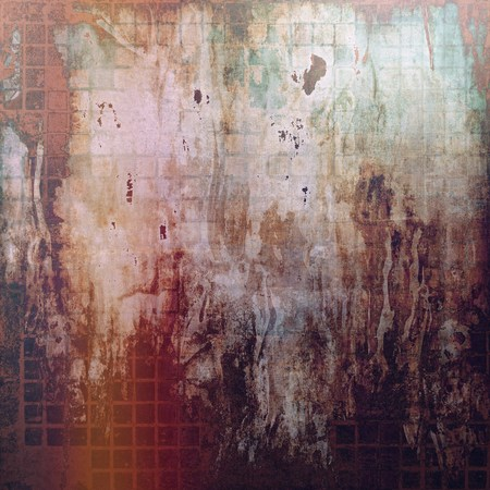 degraded: Oldest vintage background in grunge style. Ancient texture with different color patterns: yellow (beige); brown; green; red (orange); purple (violet); gray Stock Photo