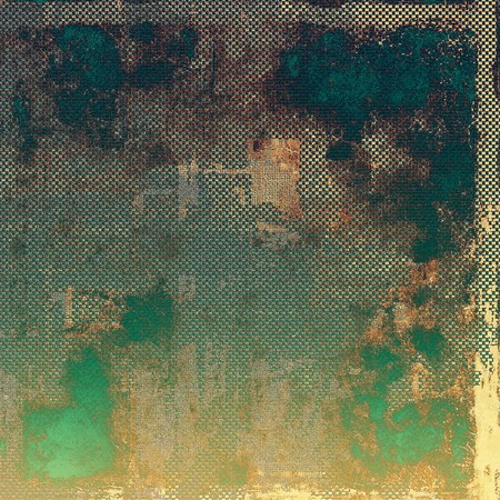 eroded: Aged background or texture. Vintage graphic composition with grunge style elements and different color patterns: yellow (beige); brown; green; blue; gray